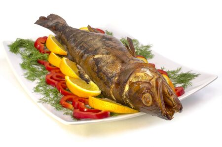 Fish perch hot-smoked with oranges and sweet pepper  photo