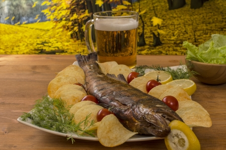 Fish smoked with beer  photo