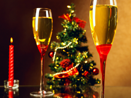 spruce: Christmas spruce, Champagne, candle Stock Photo