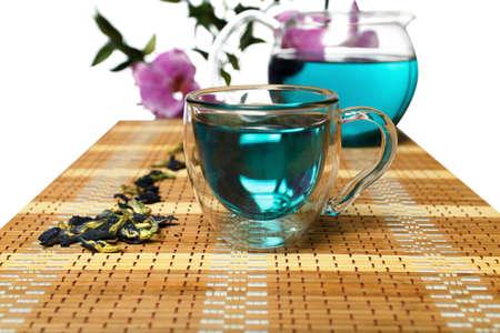 sweetmeats: Turquoise Bufferli pea tea from Thailand Stock Photo