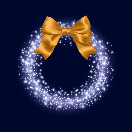 Backdrop or Christmas Greeting Card with Abstract Bright Sparkling Ring and yellow bow. Vettoriali