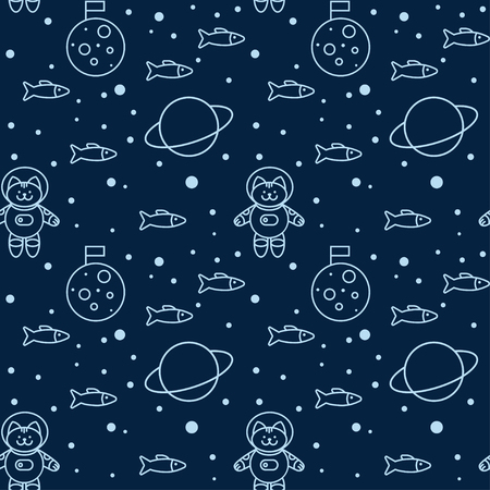 cat suit: Seamless pattern with cat in space, the Moon and Saturn