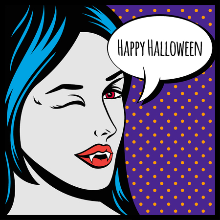 Halloween vector illustration or poster with vampire girl in pop art style and speech bubble.