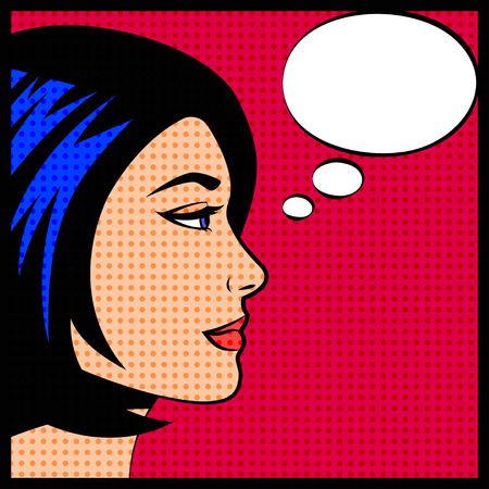 cartoon bubble: Comic pop art vector illustration of woman with think bubble