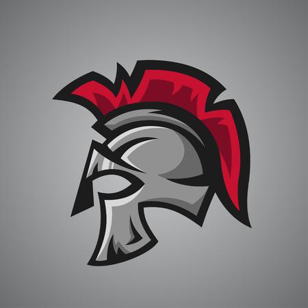 romano: Ilustración del vector del casco espartano. mascota del deporte.