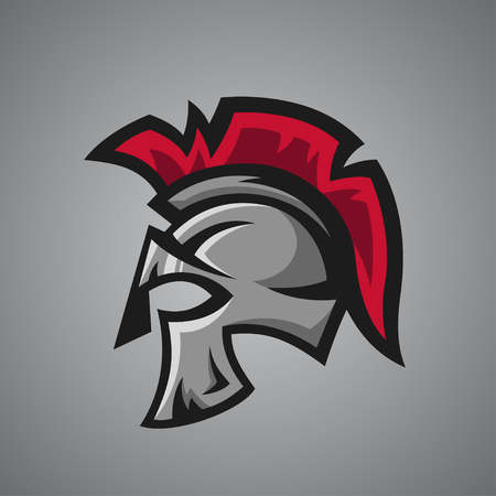 knight: Vector illustration of spartan helmet. Sport mascot.