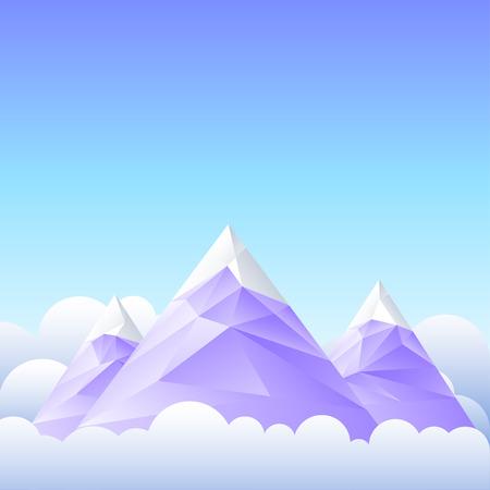 montañas nevadas: Ilustración vectorial de picos de las montañas y el cielo. Vectores