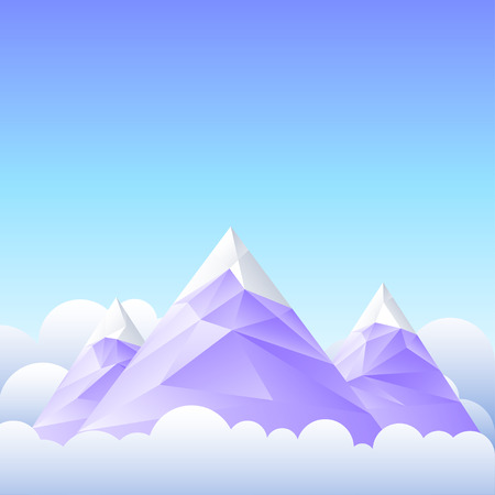snowy mountains: Vector illustration of mountain peaks and the sky. Illustration
