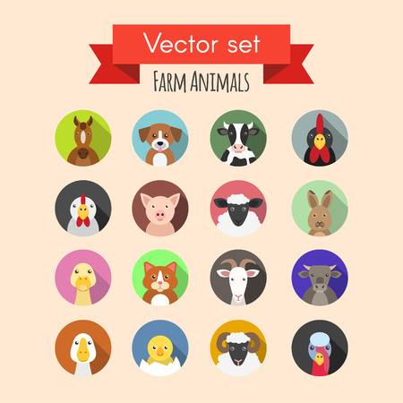 Vector set of farm or domestic animals icons Stock Illustratie