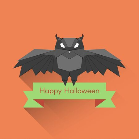 stylize: Flat style vector Halloween poster or card with stylize origami owl