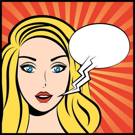 cartoon bubble: Pop art vector illustration of woman with speech bubble