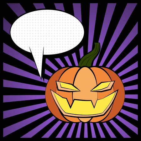 Vector illustration of Halloween pumpkin and a speech bubble. Pop art style. Illustration