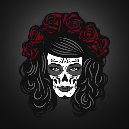 sexy girls: Day of The Dead Woman Illustration with Sugar Skull Face Paint and roses
