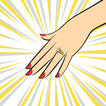Vector Wedding Ring on hand. Pop art style.