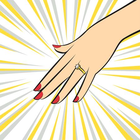 Vector Wedding Ring on hand. Pop art style.