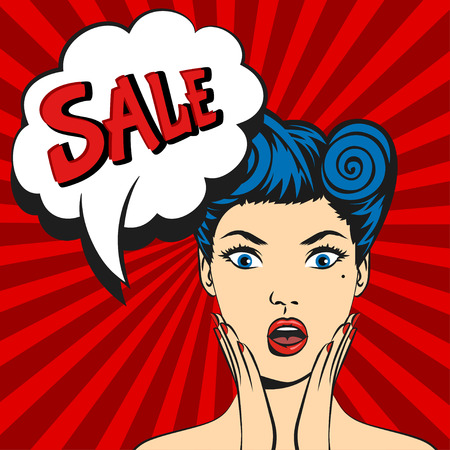 wonders: Vector pop art surprised woman face with open mouth and a sale speech bubble Illustration