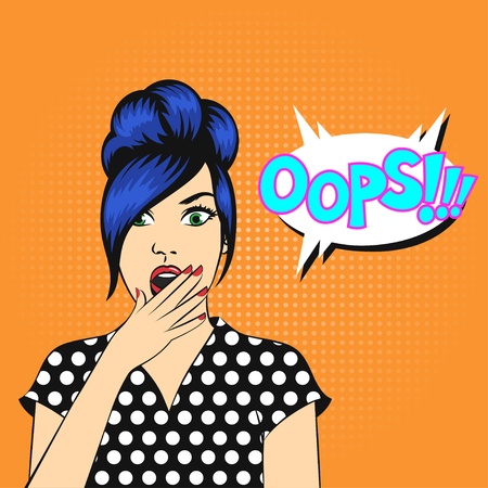 Vector pop art woman face with open mouth and a OOPS bubble