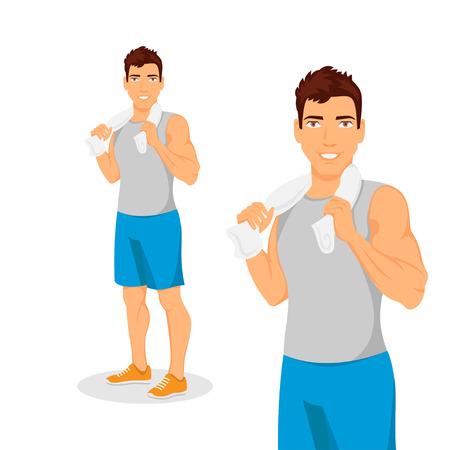 hombre fuerte: Vector chico guapo joven muscular Vectores