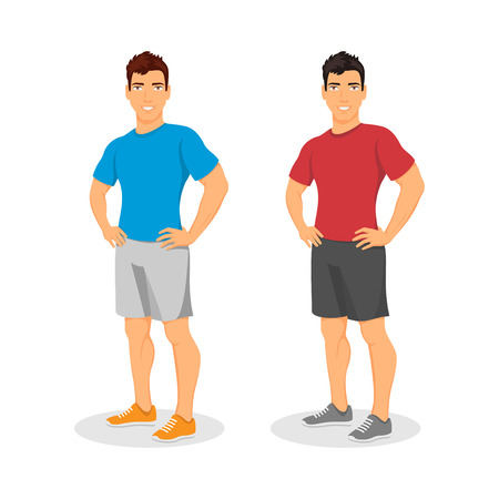 muscular: Vector handsome muscular young guy Illustration