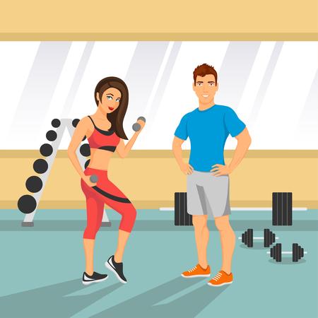gimnasio: ilustración vectorial de una pareja de ajuste en un gimnasio.