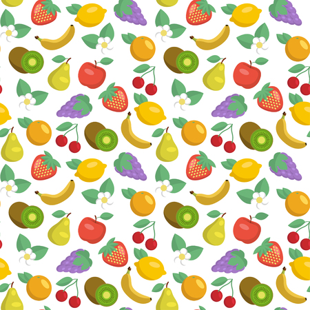 apples and oranges: Vector seamless pattern with apples, strawberries, lemons, kiwi fruits, grape, bananas cherries, pears and oranges