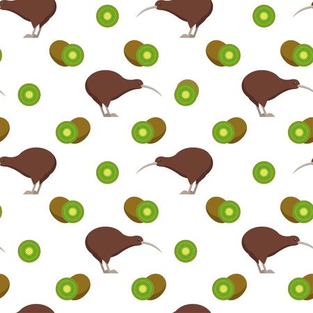 Seamless pattern with kiwi birds and kiwi fruits 矢量图像