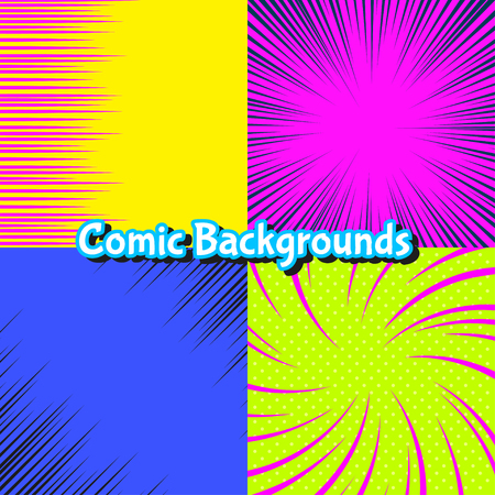 shine background: Set of abstract colorful burst and motion comic backgrounds Illustration
