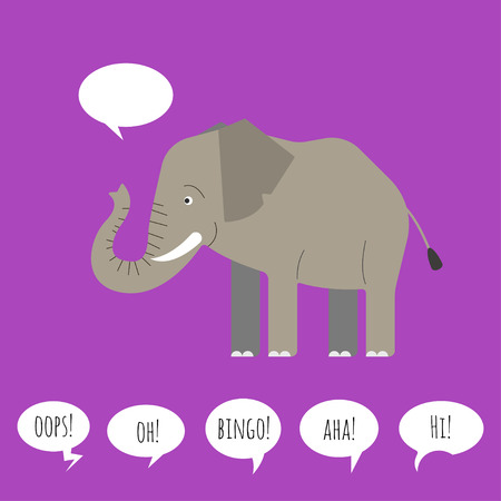 chat icon: Vector illustration of elephant with speech bubble. Flat style. Illustration