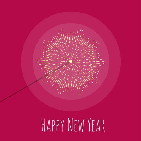 bengal: Happy New Year card with vector sparkler. Burning bengal light. Flat style.