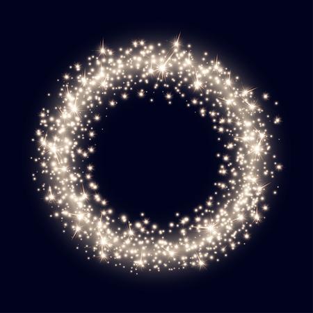 navidad elegante: Telón de fondo abstracto del vector con el anillo de oro brillante espumoso sobre fondo azul oscuro Vectores
