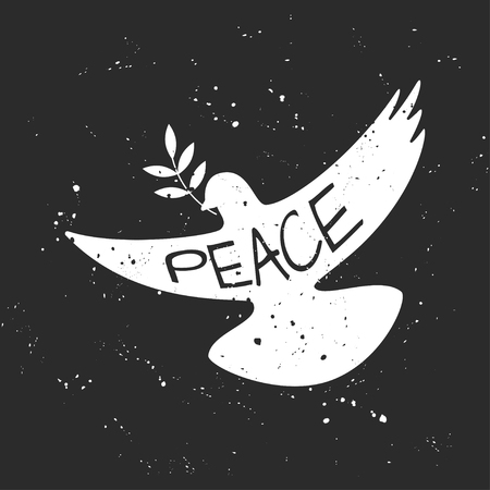 Vector grungy Peace dove with olive branch Illustration
