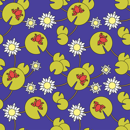 white lilly: Vector seamless pattern with frogs and water lilies Illustration