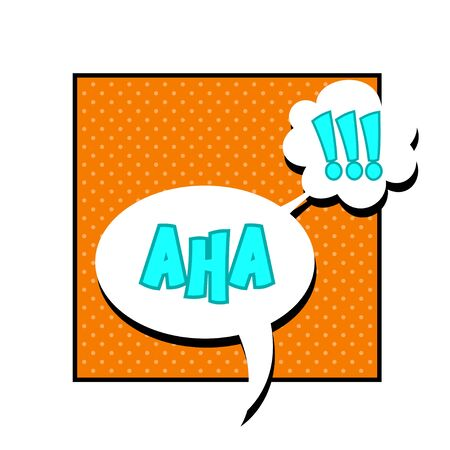 aha: Vector comic sound effect - Aha. Pop art style.