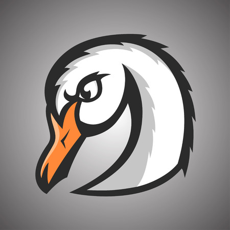 Vector illustratie van de witte zwaan. Sport mascotte.