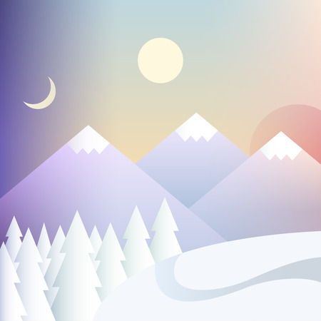 morning noon and night: Vector illustration of day and night changing. Background with mountains. Day cycle.
