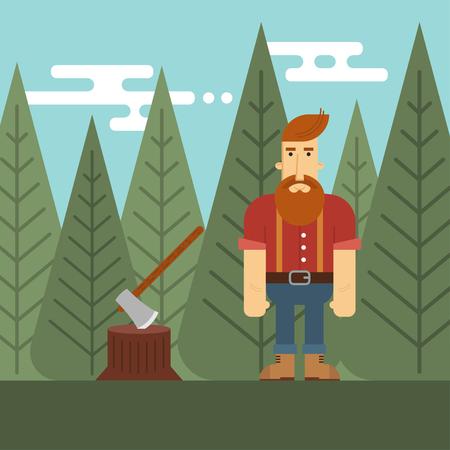 logging: Vector illustration of lumberjack in the wood.