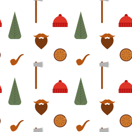 beanie: Vector seamless pattern with lumberjack icons: mustache, tree, axe, beanie, pipe.