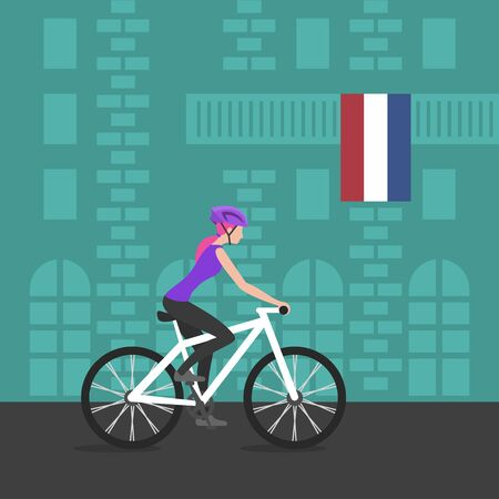 bicycling: Vector illustration of cyclist girl on bike that rides through the city; biker and bicycling; sport and exercise. Flag of Netherlands on the balcony. Healthy lifestyle in Netherlands.