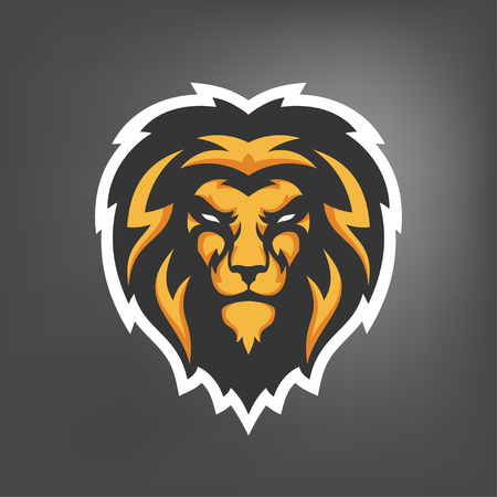 Vector illustration of lion head. Sport mascot.