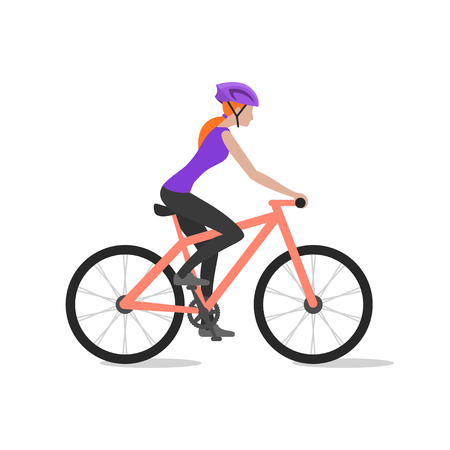biker girl: Vector illustration of cyclist girl on bike; biker and bicycling; sport and exercise.