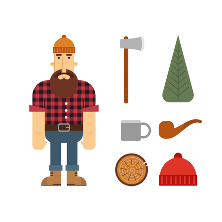 beanie: Vector Lumberjack cartoon character with lumberjack icons. Lumberjack isolated on white background. Lumber axe, wood pipe and beanie.