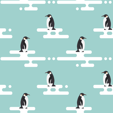animal in the wild: Seamless vector pattern with penguins standing on stylized glacier. Cold climate.