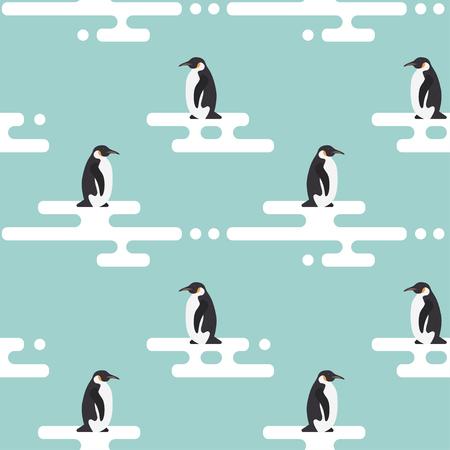 animal in the wild: Sin fisuras vector patrón con los pingüinos de pie en el glaciar estilizada. Clima frío.
