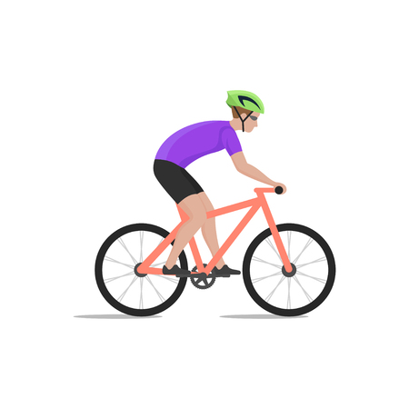 bicycling: Vector illustration of cyclist on bike; biker and bicycling; sport and exercise.
