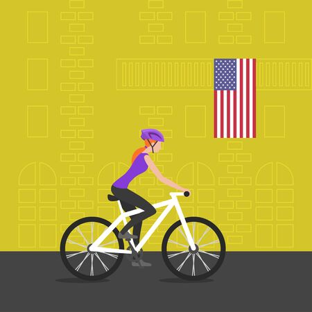 Vector illustration of cyclist girl on bike that rides through the city; biker and bicycling; sport and exercise. Flag of USA on the balcony. Healthy lifestyle in USA.