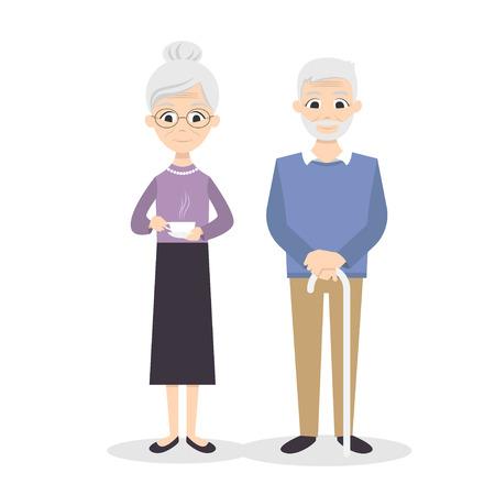 donna innamorata: illustrazione vettoriale di felice coppia senior sorridente. Vettoriali