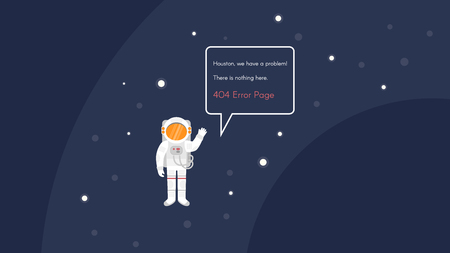 zero gravity: Vector 404 error page template for website. Open space with astronaut and stars.