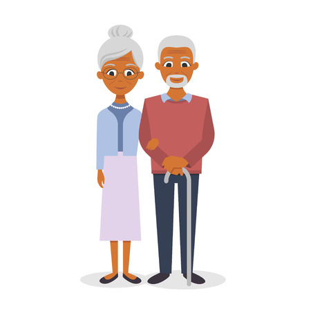 Vector illustration of happy smiling senior couple Vettoriali