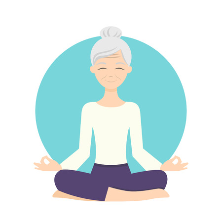aging: Illustration of senior woman practicing yoga exercises. Healthy lifestyle.