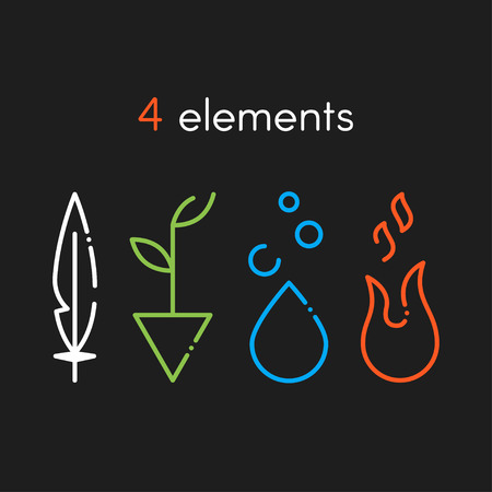 Vector Nature basic elements: Water, Fire, Earth, Air. Icons on dark background